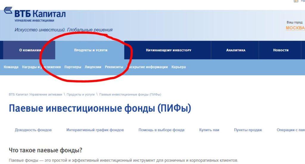 """Раздел """"Продукты"""" на сайте ВТБ Капитал"""