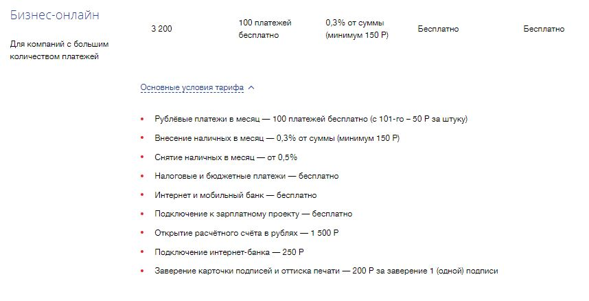 Тариф «Бизнес-онлайн» в ВТБ