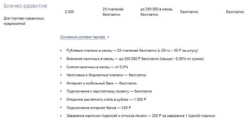 Тариф «Бизнес-развитие» в ВТБ