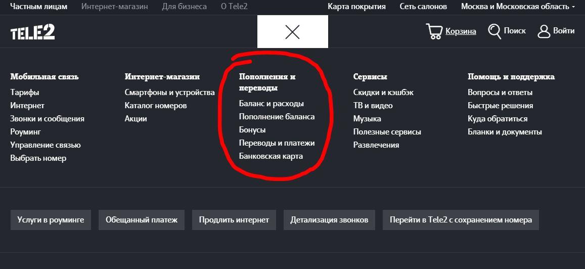 "Раздел ""Пополнение и переводы"" на сайте Теле2"